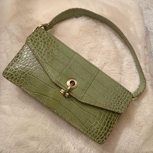 Ann Taylor embossed Leather green clutch handbag